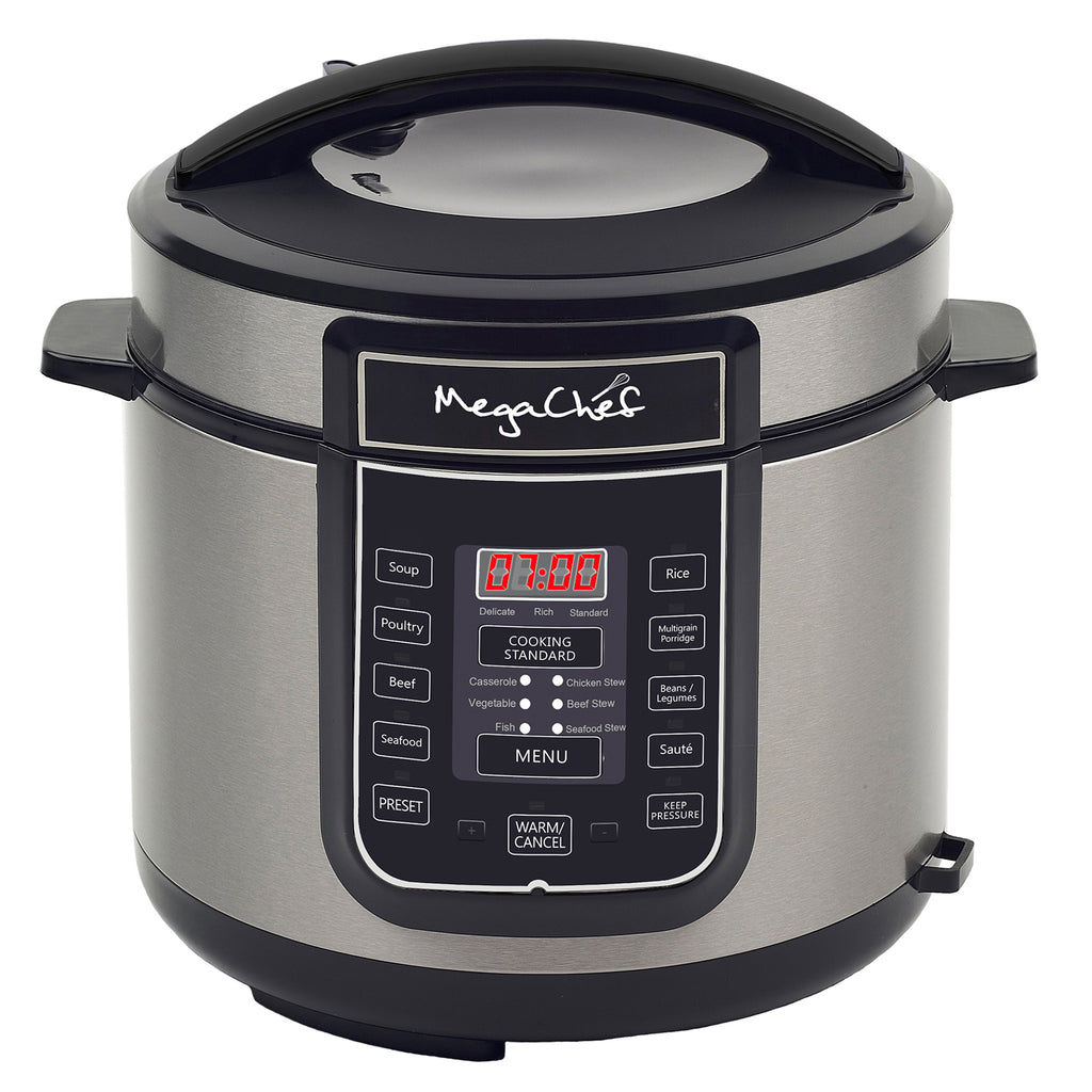 Megachef  6 Quart Digital Pressure Cooker with 14 Pre-set Multi Function Features - Factory Reconditioned