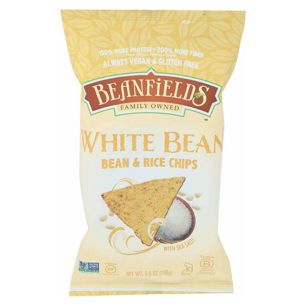 Beanfields - White Bean and Rice Chips - Sea Salt - Case of 6 - 5.5 oz