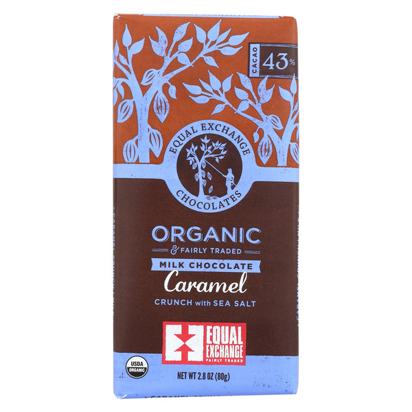 Equal Exchange Organic Dark Chocolate Caramel Crunch with Sea Salt - Caramel Crunch - Case of 12 - 2.8 oz.