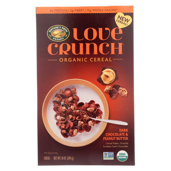 Nature's Path Cereal - Organic - Love Crunch - Dark Chocolate - Peanut - Case of 6 - 10 oz