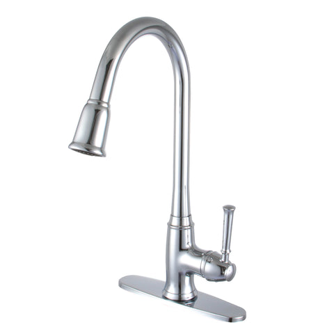 YPH56U80-PC Polished Chrome Finish Metal Single Handle Kitchen Faucet Single Handle Pull-down Kitchen Faucet
