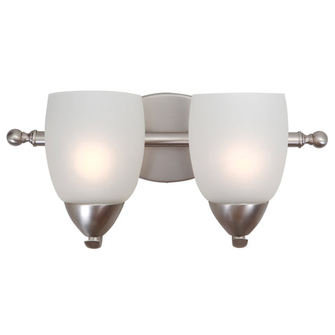 1261-2V-BN Brushed Nickel  Steel, Glass Two Lights Vanity Lights Mirror Lake Collection