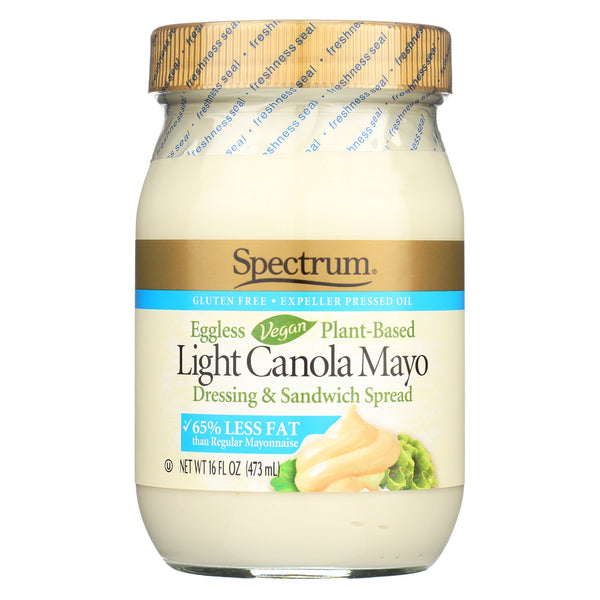 Spectrum Naturals Vegan Eggless Light Canola Mayonnaise - Case of 12 - 16 oz.