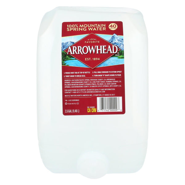 Arrowhead Spring Water - 100 Percent Mountain Spring Water - Case of 2 - 2.5 Gallon