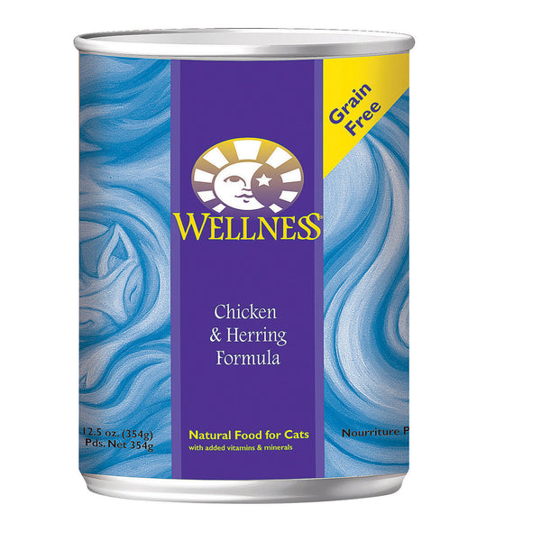 Wellness Pet Products Cat Food - Chicken and Herring - Case of 12 - 12.5 oz.