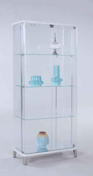 Chintaly - 6639 Cur Series Rectangular Glass Curio W/ Bent Glass Back Gloss White/Starphire