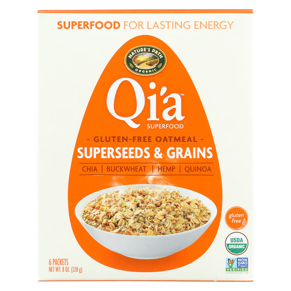 Nature's Path Organic Qi'A Superfood Hot Oatmeal - Superseeds and Grains - Case of 6 - 8 oz.