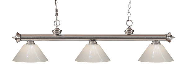 Z-Lite 200-3BN-PWH Riviera 3 Light Billiard Light with Brushed Nickel Steel Frame