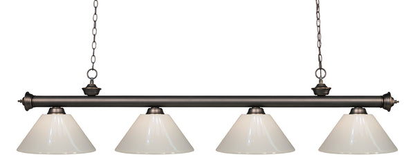 Z-Lite 200-4OB-PWH Riviera 4 Light Billiard Light with Olde Bronze Steel Frame