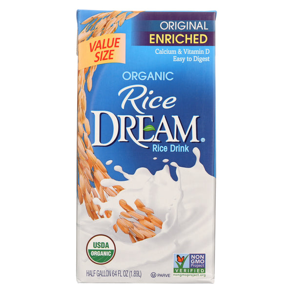 Rice Dream Original Rice Drink - Enriched Organic - Case of 8 - 64 Fl oz.