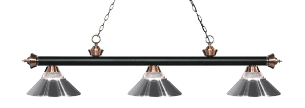 Z-Lite 200-3MB+AC-RCH Riviera 3 Light Billiard Light with Matte Black + Antique Copper Steel Frame
