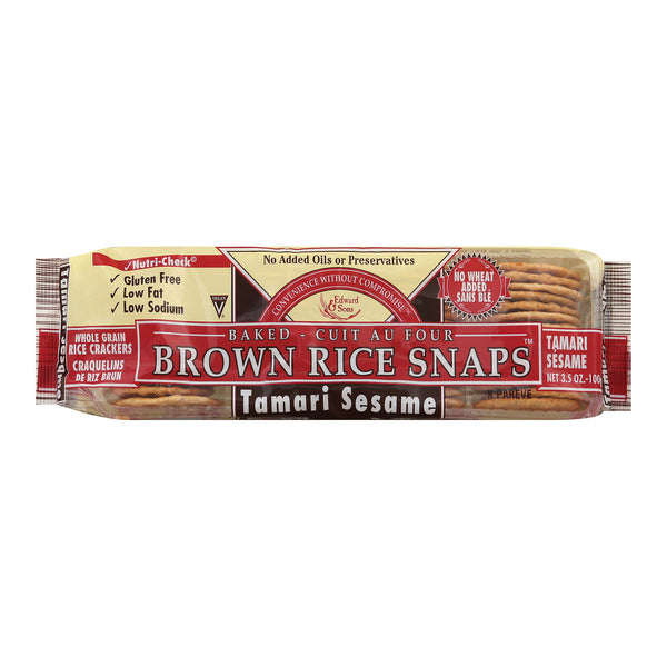 Edward and Sons Brown Rice Snaps - Tamari Sesame - Case of 12 - 3.5 oz.