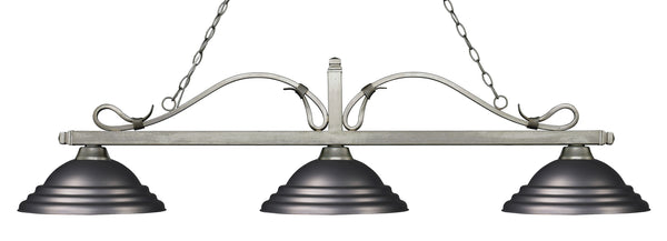 Z-Lite 114-3AS-SOB Melrose 3 Light Billiard Light with Antique Silver Steel Frame