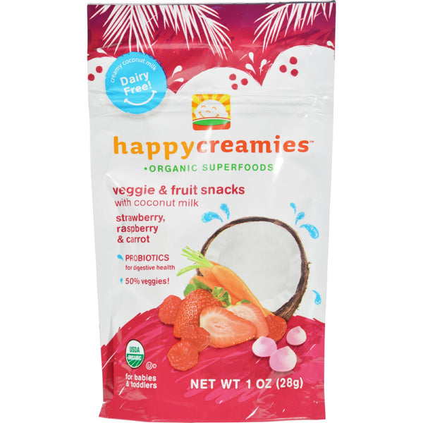 Happy Creamies Organic Snacks - Strawberry and Raspberry - Case of 8 - 1 oz