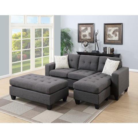 Home Roots - All In One Sectional With Ottoman And 2 Pillows In Gray
