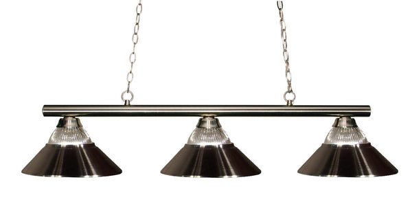 Z-Lite 155-3BN-RBN Sharp Shooter 3 Light Billiard Light with Brushed Nickel Steel Frame