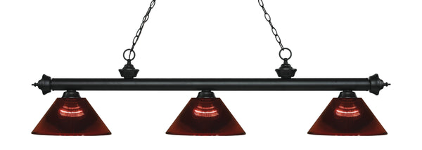 Z-Lite 200-3MB-ARBG Riviera 3 Light Billiard Light with Matte Black Steel Frame