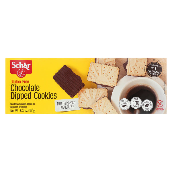 Schar Chocolate Dipped Cookies Gluten Free - Case of 12 - 5.3 oz.
