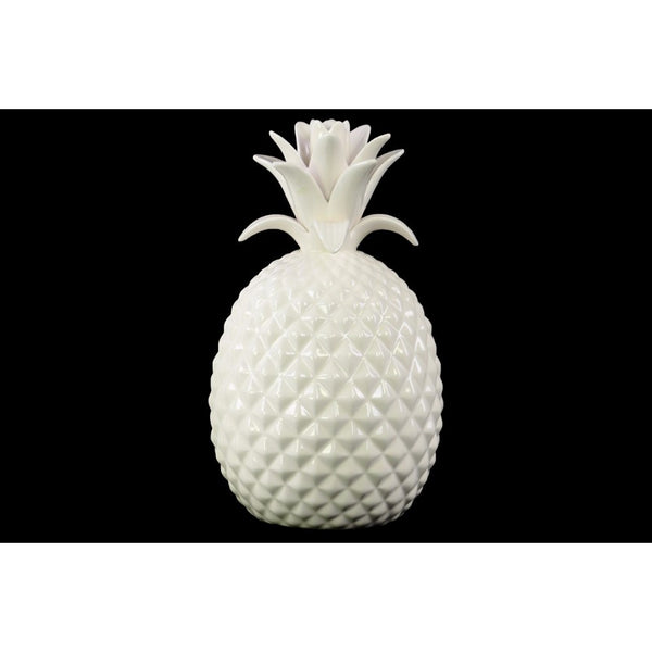 Porcelain Pineapple Figurine Large Glossy White BM179318 - Benzara