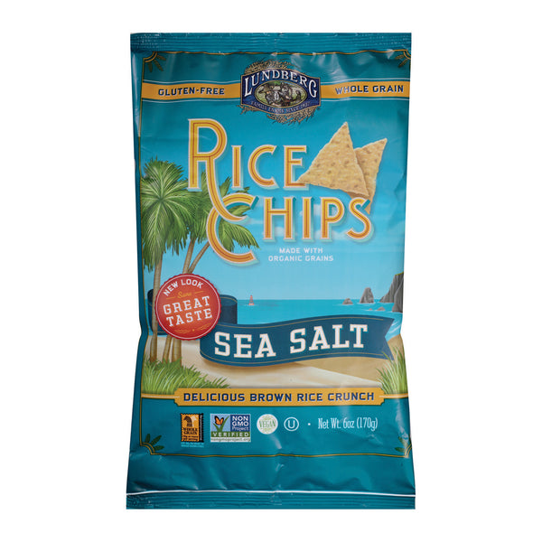 Lundberg Family Farms Sea Salt Rice Chips - Case of 12 - 6 oz.