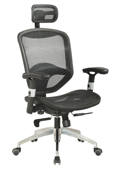 Chintaly - 4025 Chr Series Mesh Seat & Back W/Headrest Multi Adjustable Pneumatic Gas Lift Office Chair Black / Aluminum