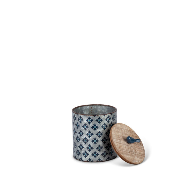 Assorted-Pattern, Nesting Blue Galvanized Storage Canisters with Wood Tops (Set of 3) - Gerson