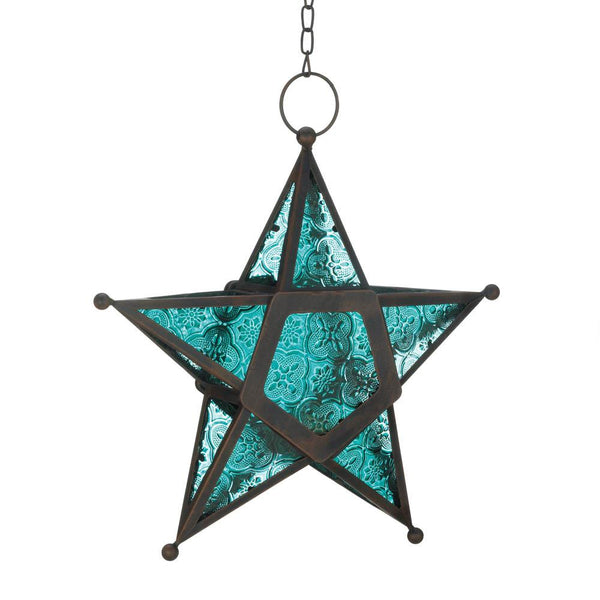 Blue Glass Star Lantern