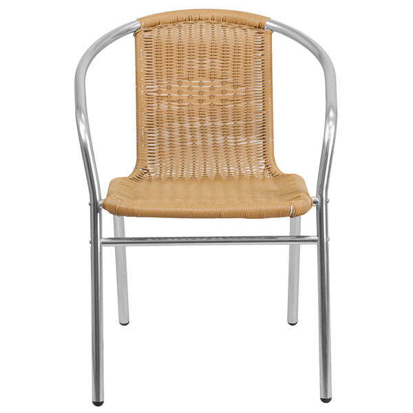 Commercial Aluminum and Beige Rattan Indoor-Outdoor Restaurant Stack Chair