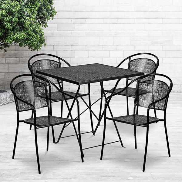 Commercial Grade 28'' Square Black Indoor-Outdoor Steel Folding Patio Table Set with 4 Round Back Chairs