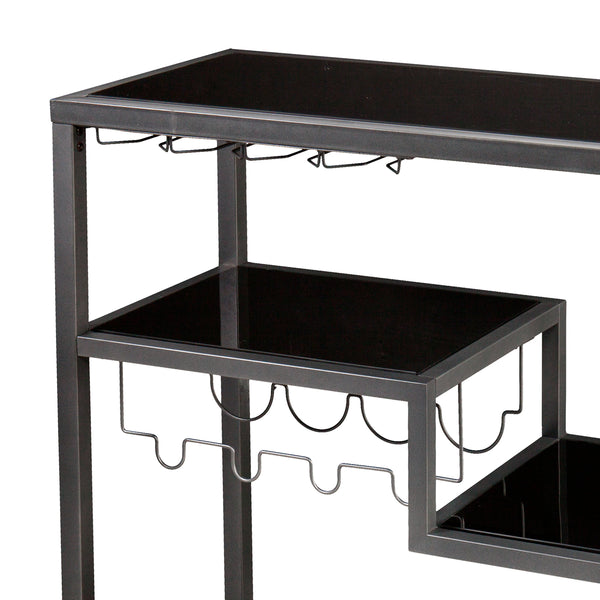 Contemporary Style Metal Bar Cart With Tempered Glass Shelves Gunmetal Gray Black BM30521 - Benzara