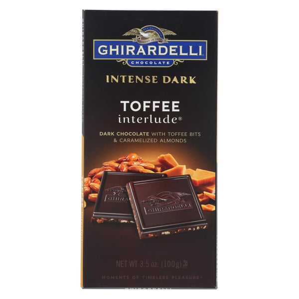 Ghirardelli Intense Dark Chocolate Toffee Interlude Bar - Case of 12 - 3.5 oz.