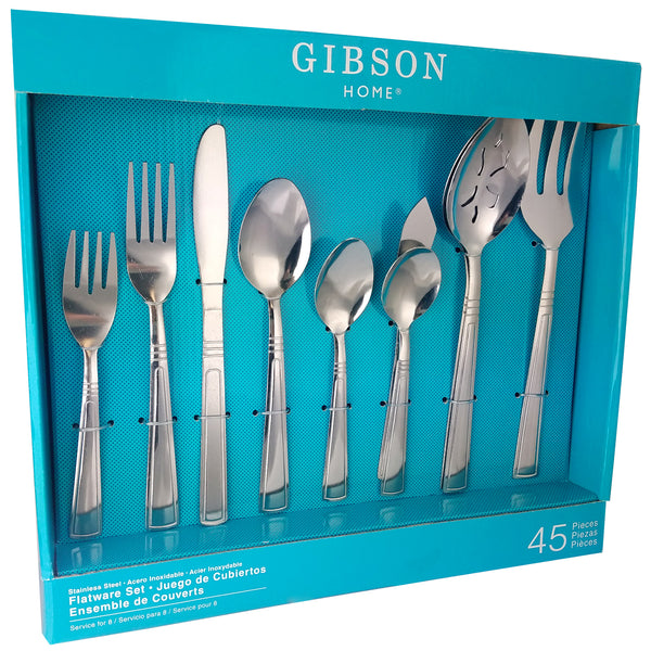 Gibson Home  Astonshire 45 Piece Stainless Steel Tumble Finish Flatware Set
