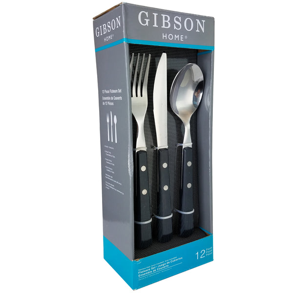 Gibson  Springbrook 12-Piece Flatware Set with Black Wood Look