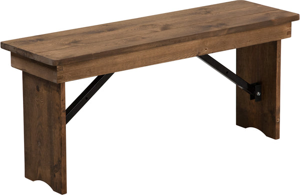 HERCULES Series 40'' x 12'' Antique Rustic Solid Pine Folding Farm Bench