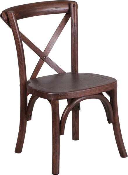 HERCULES Series Stackable Kids Mahogany Wood Cross Back Chair