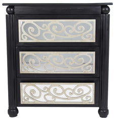 Home Roots - 37' Black and Silver Accent Cabinet with 3 drawers and Mirrored Glass