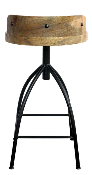 Industrial Style Adjustable Swivel Counter Height Stool With Backrest UPT-165867 - The Urban Port