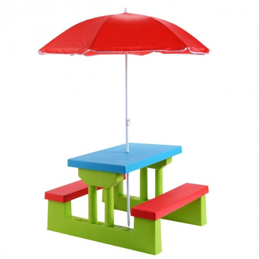 Kids Picnic Folding Table and Bench with Umbrella - OP70475