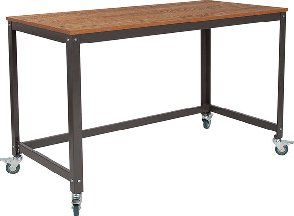 Livingston Collection Computer Table and Desk in Brown Oak Wood Grain Finish with Metal Wheels