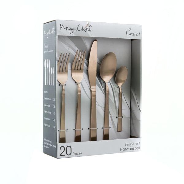 Megachef MegaChef Cravat 20 Piece Flatware Utensil Set, Stainless Steel Silverware Metal Service for 4 in Matte Rose