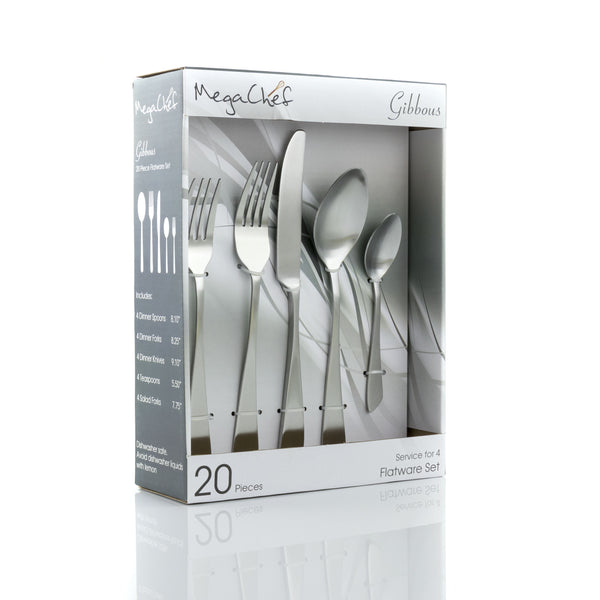 Megachef MegaChef Gibbous 20 Piece Flatware Utensil Set, Stainless Steel Silverware Metal Service for 4 in Matte Silver