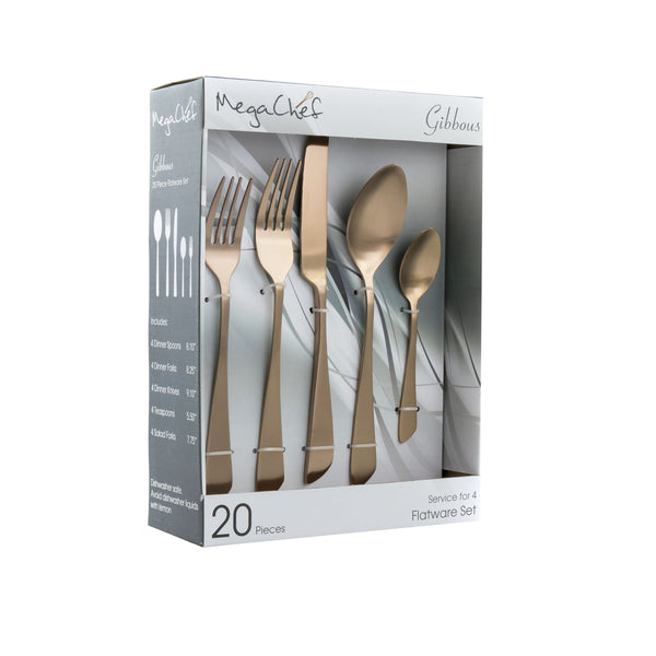 Megachef MegaChef Gibbous 20 Piece Flatware Utensil Set, Stainless Steel Silverware Metal Service for 4 in Rose Gold Matte