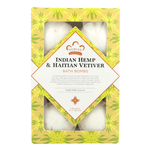 Nubian Heritage Indian Hemp & Haitian Vetiver Bath Bombs  - 1 Each - 6 CT