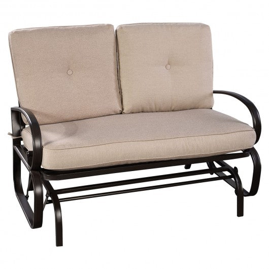 Outdoor Patio Cushioned Rocking Bench Loveseat - HW51783BE