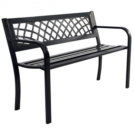 Patio Park Garden Bench Outdoor Deck Steel Frame - OP70532