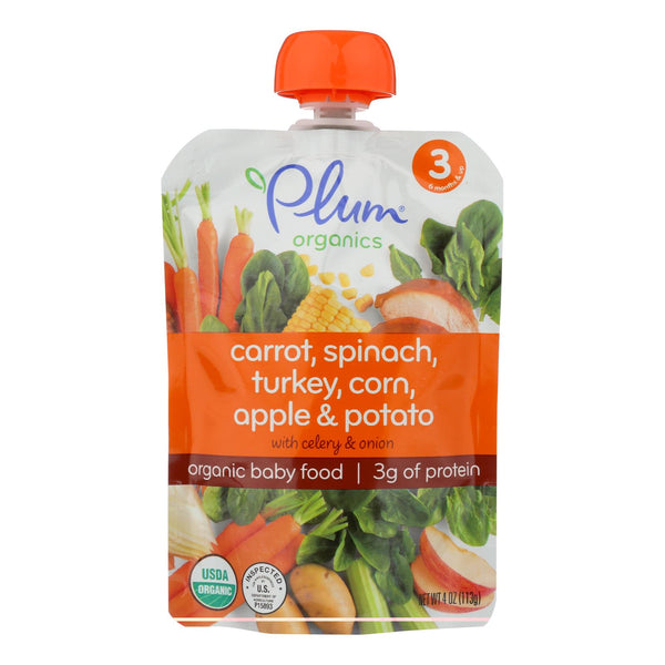 Plum Organics Organic Baby Food - Sweet Corn & Carrot with Turkey + Sage - Case of 6 - 4 oz