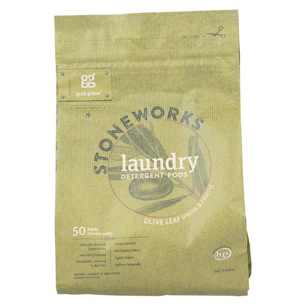 Stoneworks Olive Leaf Laundry Detergent Pods  - Case of 6 - 50 CT