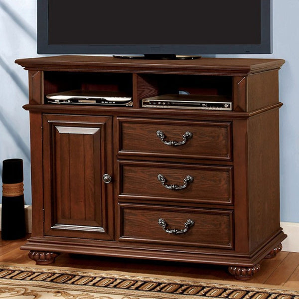 Transitional Wooden Dresser with Nine Drawers and Metal Knob Pulls Brown BM137452 - Benzara