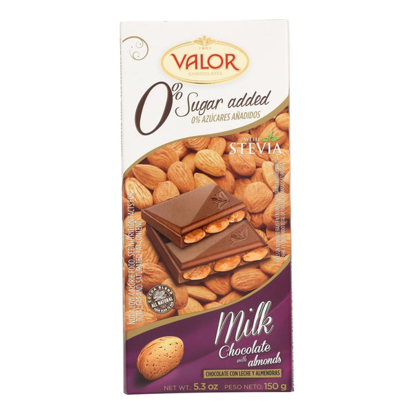 Valor Milk Chocolate - No Added Sugar - Almonds - Case of 14 - 5.29 oz