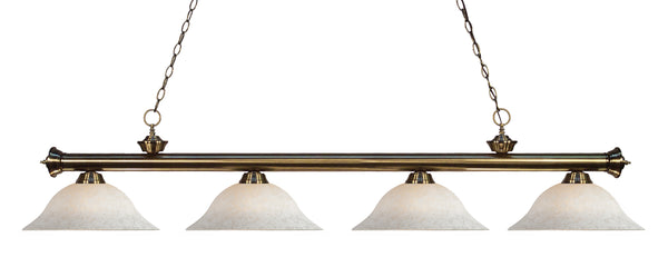 Z-Lite 200-4AB-WM16 Riviera 4 Light Billiard Light with Antique Brass Steel Frame